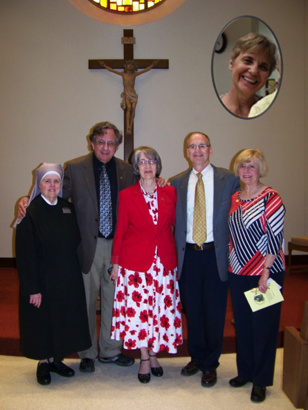 Caption: Sr. Chantal and New members Mike Vittorino, Rae Lynn Vittorino, Tom Cummings, Martha Capehart and Julie Cummings (pictured above).